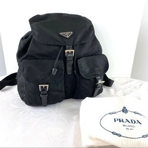 PRADA Black Nylon Backpack Unisex Vintage
